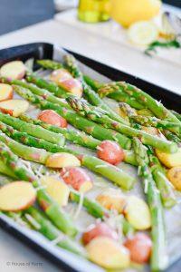 Sheet Pan Roasted Garlic Parmesan Asparagus and Potatoes Recipe