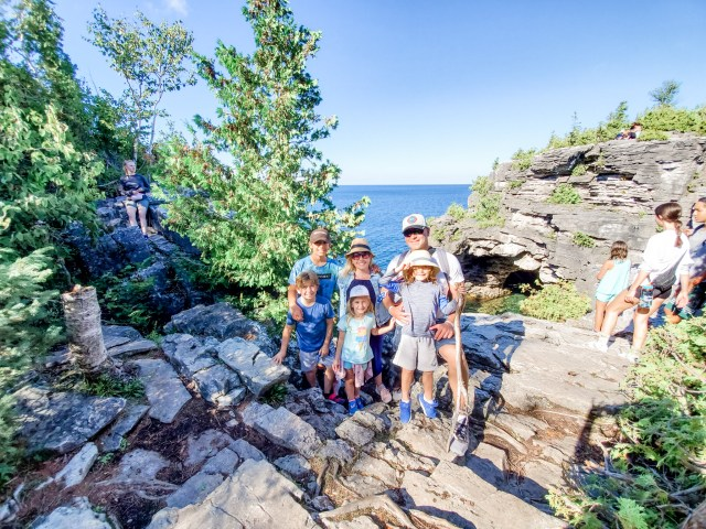 Family visit to The Grotto Things to do Tobermory Ontario