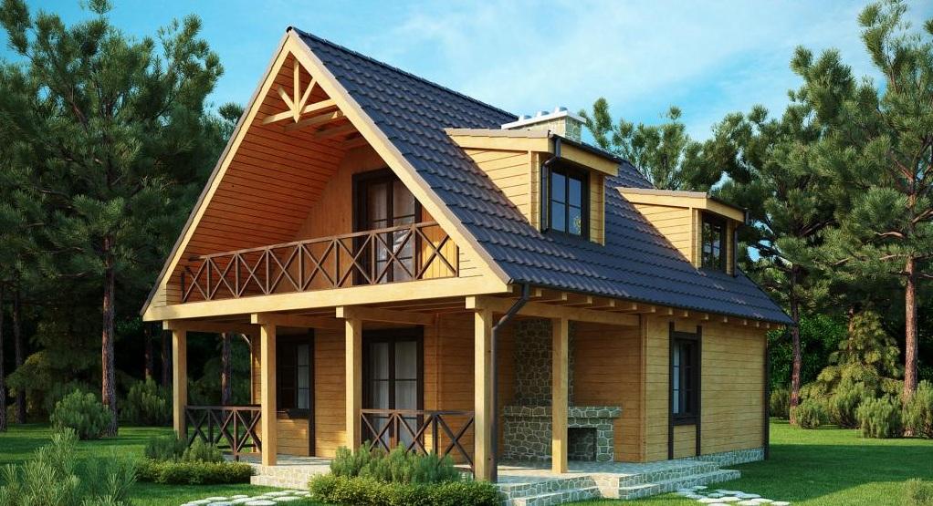 двуетажна дървена къща от профилирани трупи или слепени греди