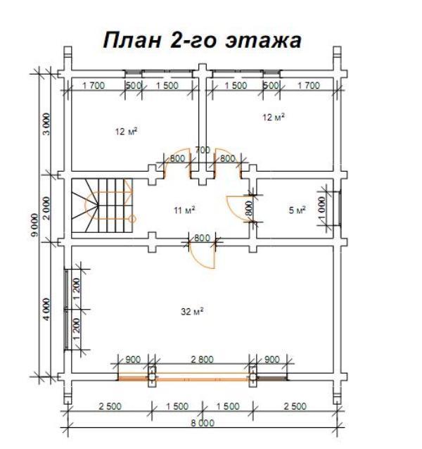 проект на двуетажна дървена къща от цилиндровани трупи