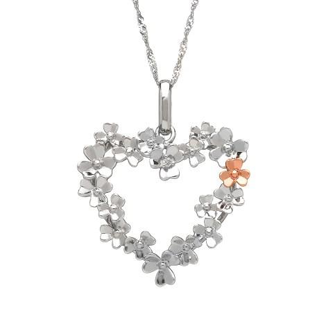 White Gold Shamrock Heart Pendant