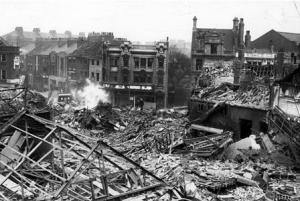 King Edward Street Hull Bombed WW2 looking towards Story Street. Courtesy Hull Daily Mail.