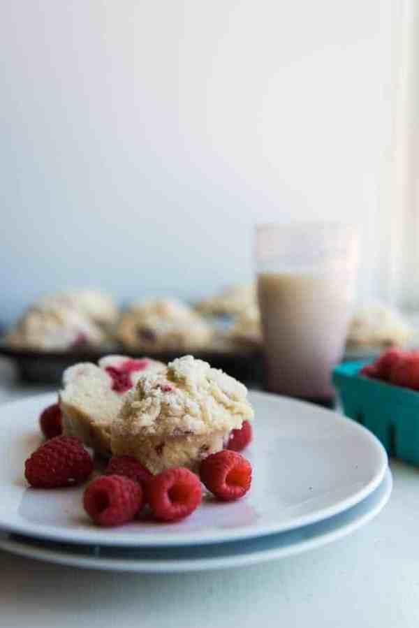 STREUSEL = Yumminess. And raspberry streusel muffins that are soft and sweet and have bursts of raspberry fruit? Just the thing for breakfast happiness.