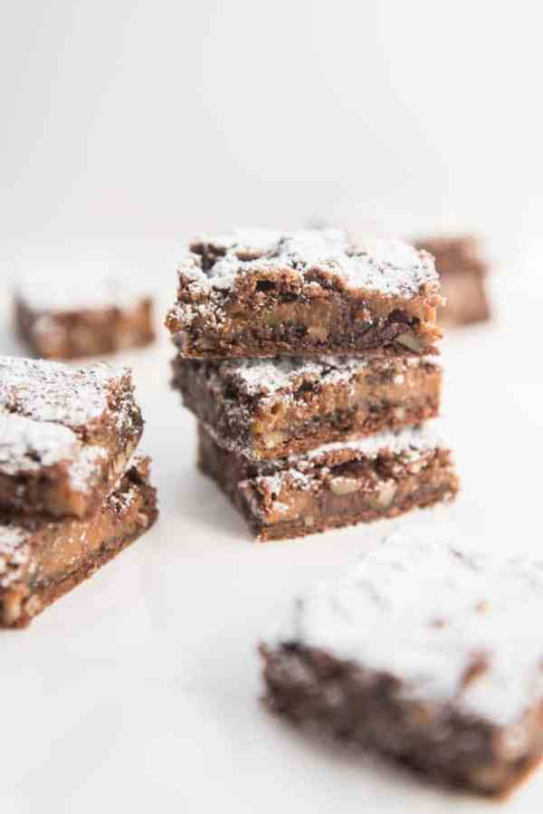 Rich, delicious semi-homemade brownie studded with chopped pecan pieces and a layer of gooey soft caramel in the middle. These easy caramel pecan brownies are definitely a family favorite!