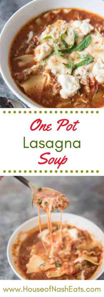 One pot lasagna soup has all the wonderful cheesy, meaty richness of a lasagna, but in soup form! It's easy and a perfect, hearty soup for a cold day!