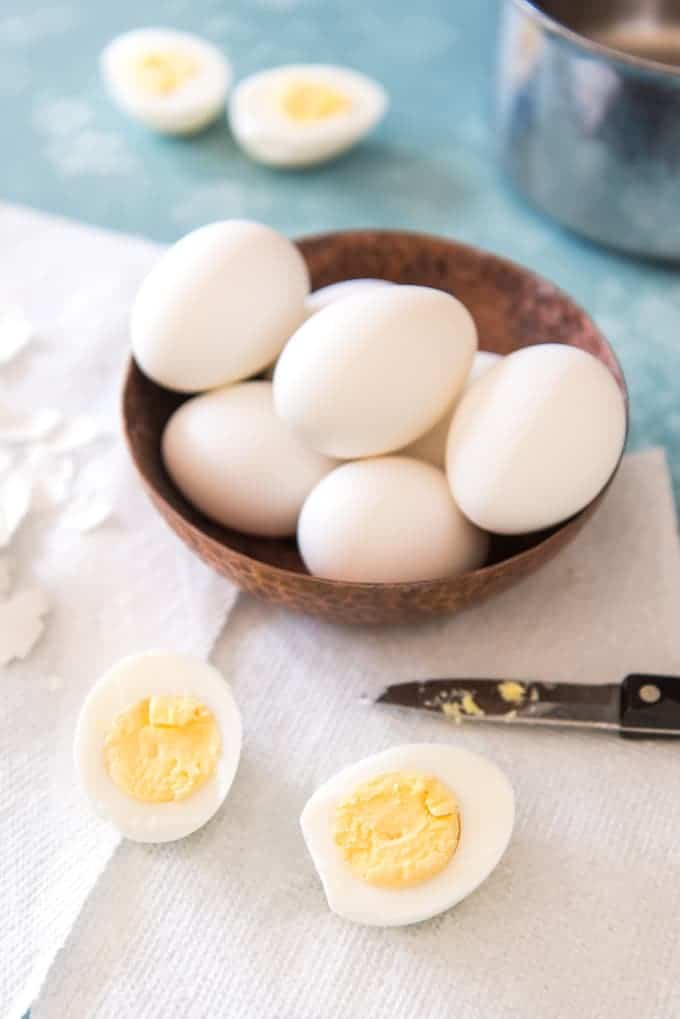 Perfect hard-boiled eggs have whites that are firm but not rubbery and yolks that are cooked and still creamy, without a layer of grey around them. This tutorial shows how to make perfect hard-boiled eggs, every time.