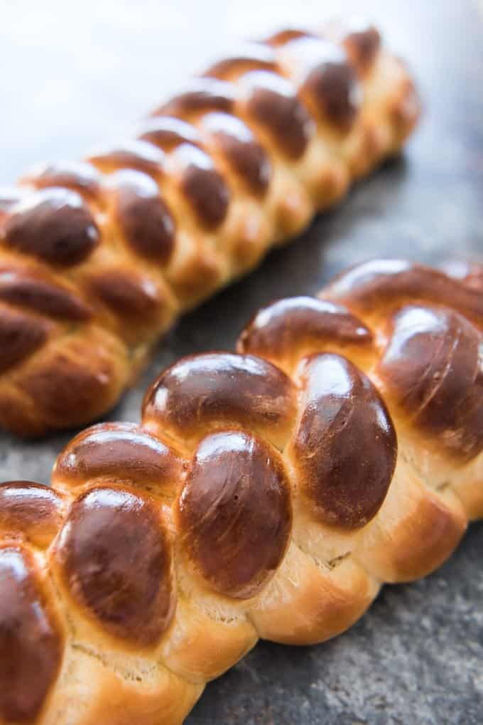 This recipe makes two gorgeous, rich, braided loaves of the best Challah Bread (sometimes called Egg Bread) you will ever eat!  Have one loaf warm out of the oven and save the other loaf for French toast a few days later!