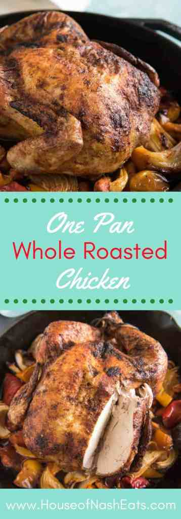 Tender and juicy, this One Pan Whole Roasted Mexican Chicken with Onions, Peppers & Carrots is a complete meal loaded with flavor and makes a delicious and impressive dinner that is good enough for guests or Sunday dinner but also easy enough for weeknight meal plans. Crispy skin flavored with Mexican spices gives the traditional roasted bird a delicious flair!