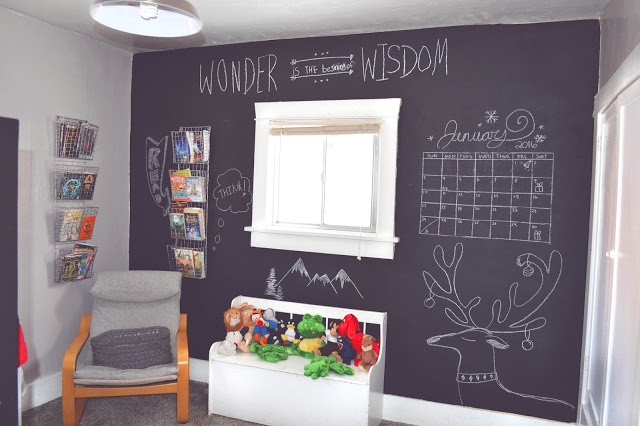 boys room chalkboard wall diy