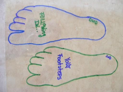 foot print key chain step two