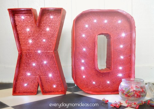 Cardboard Valentines Marquee XO Sign