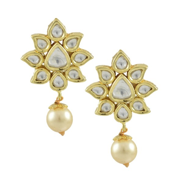 GOLD PLATED POLKI WITH PEARL DROP