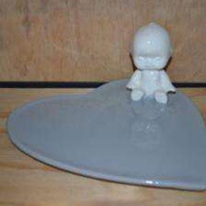 Handmade ceramic kewpie platter in aqua colour
