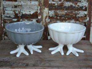 Handmade bowls with chicken feet