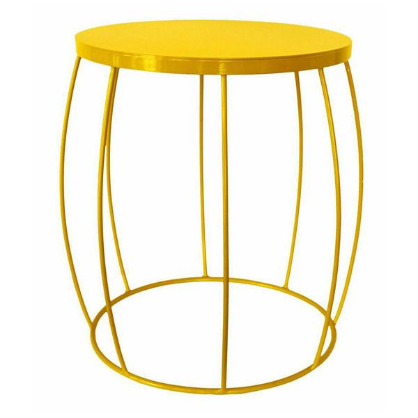 Yellow Wire Barrel Side Table | Home Decorations
