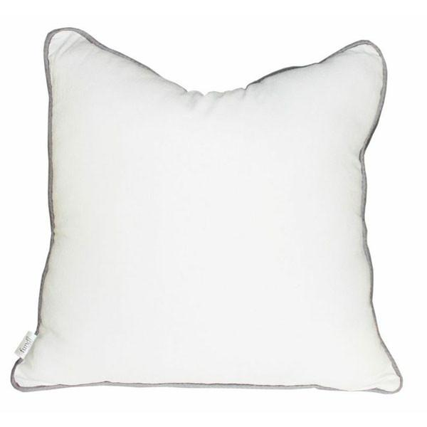 White linen scatter cushion with grey colour piping