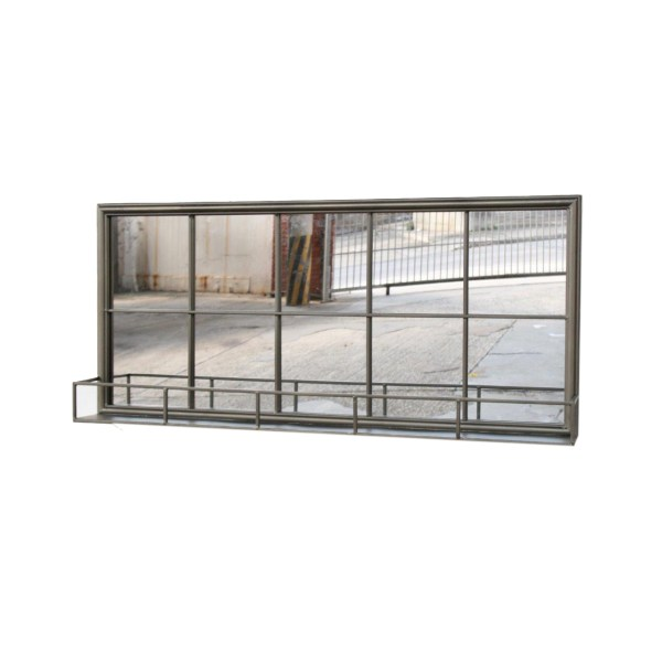 Oblong mirror with shelf