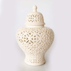 Extra Large White Fat Cut Out Ginger Jar