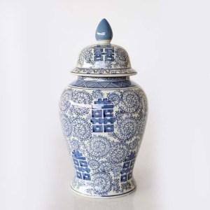 Large Blue Chinese Swirls Ginger Jar