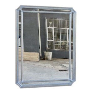 Silver Oblong Mirror with Border
