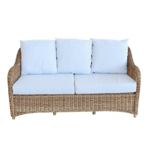 2.5 SEATER OUTDOOR COUCH OFF-WHITE CUSHIONS