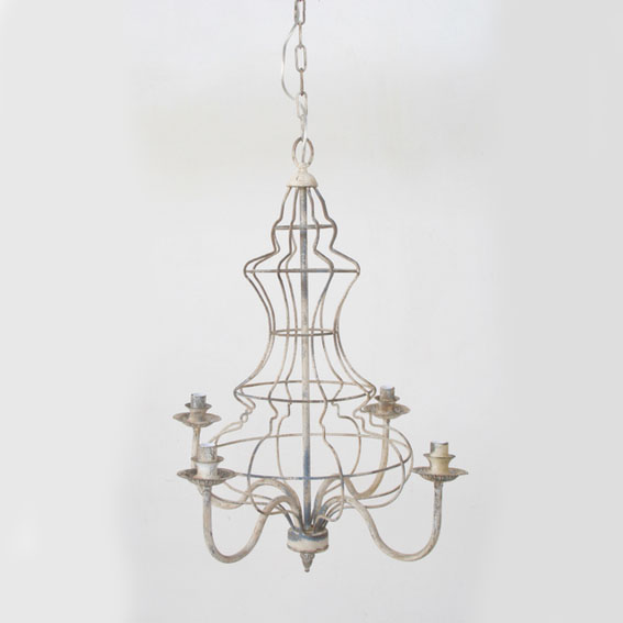 DISTRESSED 4 LIGHT HANGING ELECTRIC LIGHT