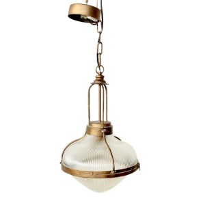 GLASS & METAL HANGING LIGHT DOME BOTTOM