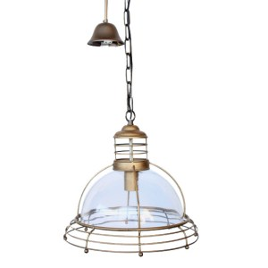 METAL & GLASS DOME WITH 3 BRASS RINGS HANGING LIGHT