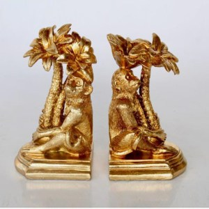 Pair of Gold Monkey Palm Tree Bookends