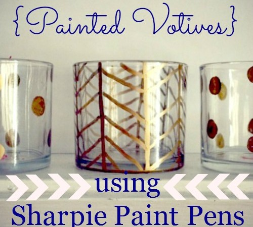Painted Votives using Sharpie Paint Pens