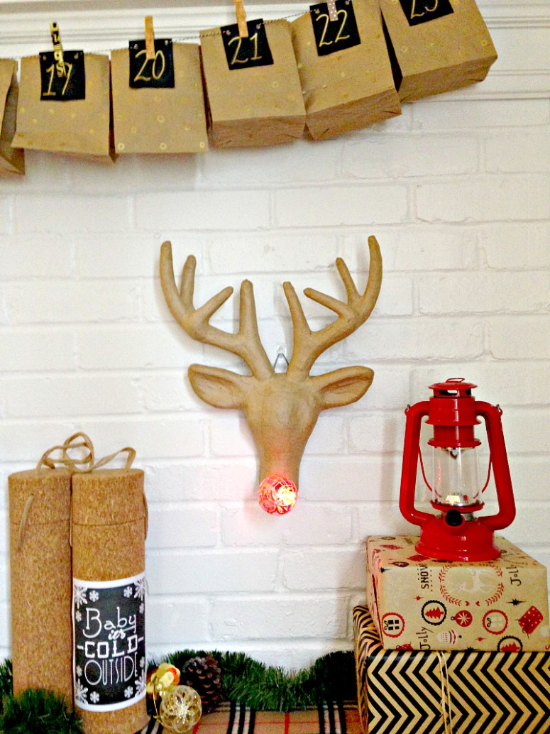 DIY Rudolph with a lgiht up nose