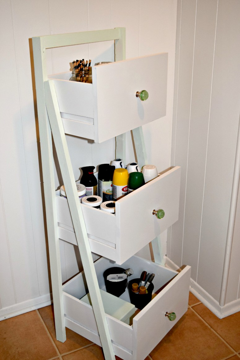 DIY Ladder Shelf Organization 3