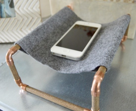 Copper and Wood Phone Holder