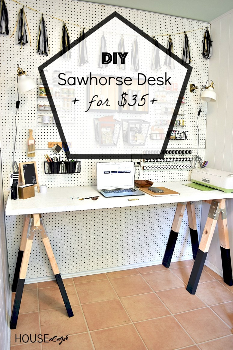This desk comes together in just minutes using a few items from the hardware store!