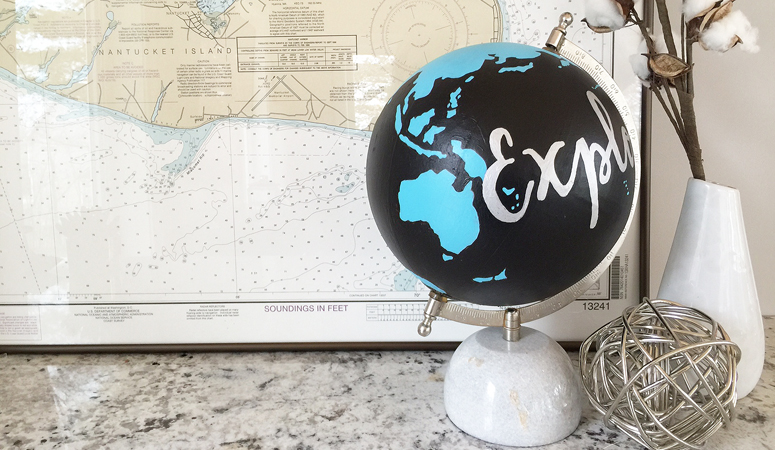 Painted Globe with Transferred Typography