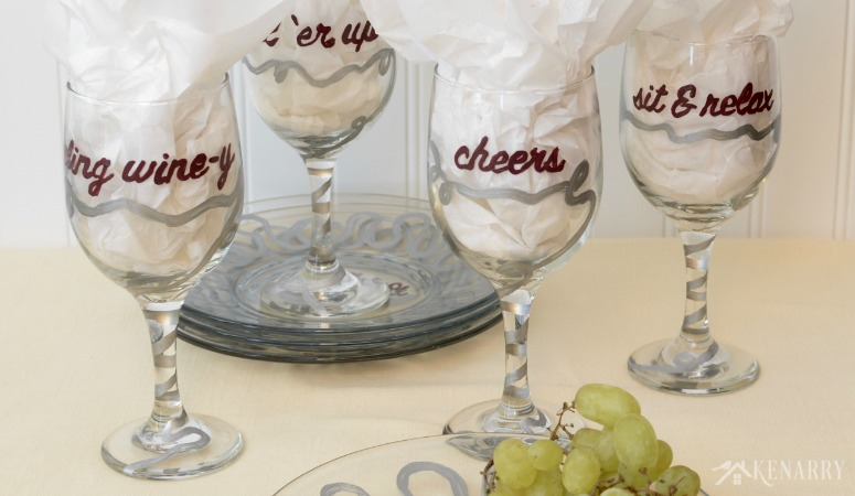 Hand Painted Wine Glasses and Appetizer Plates
