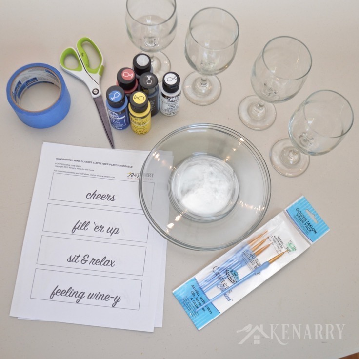 Love these DIY hand painted wine glasses and appetizer plates! They'd be a fun and easy gift idea or to use for your own parties.