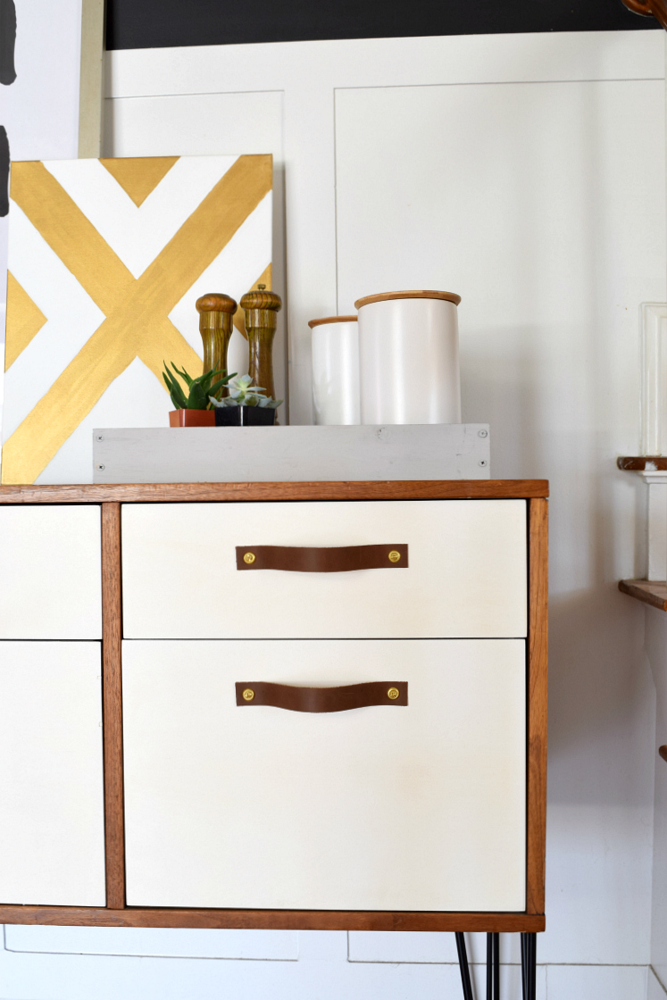 DIY Leather Drawer Pulls on Credenza