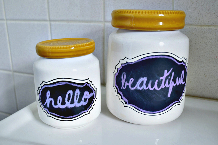 chalkboard canisters