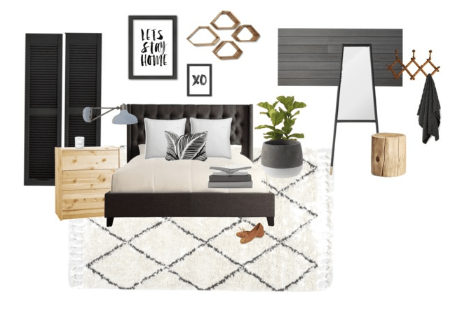 A black + white minimal Master Bedroom mood board.