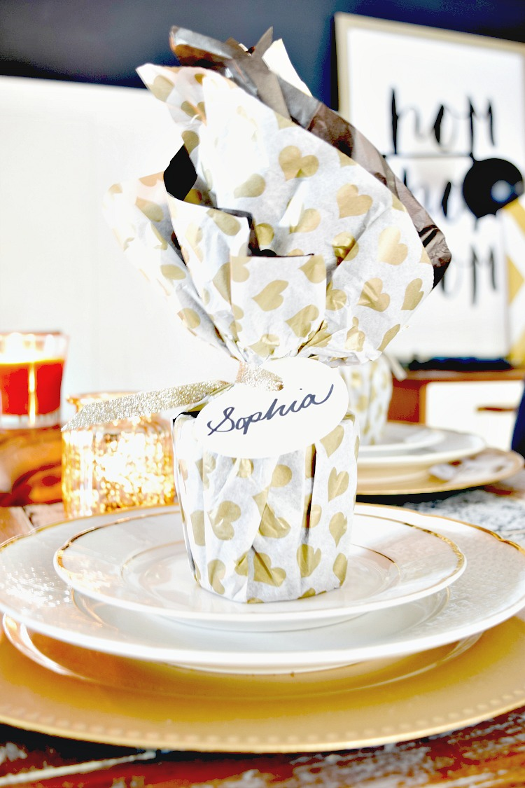 Use a Candle wrapped in tissue paper for a nice guest gift and place setting