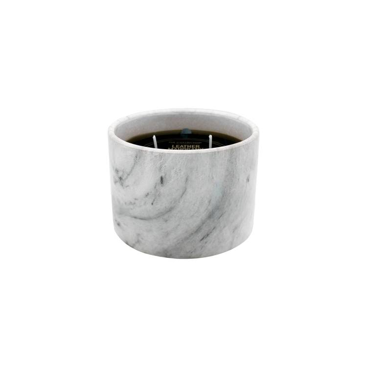 Leather Mahogany Marble Candle