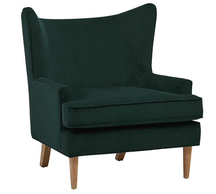 Rivet Chelsea Velvet Wing-Back Accent Chair, Green