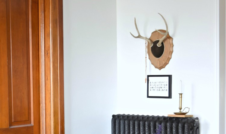 Living room antlers over art.
