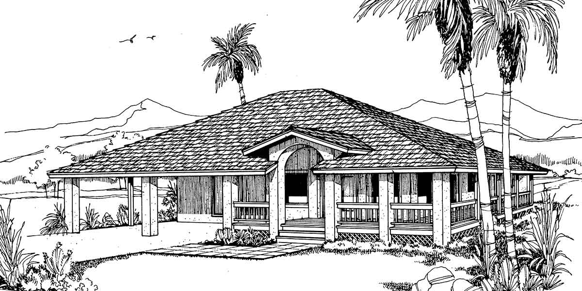 Beach House Plan W/ Wrap Around Porch