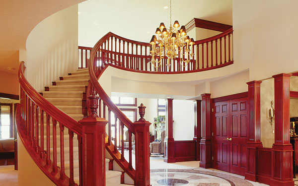Traditional Home With Brass Chandelier