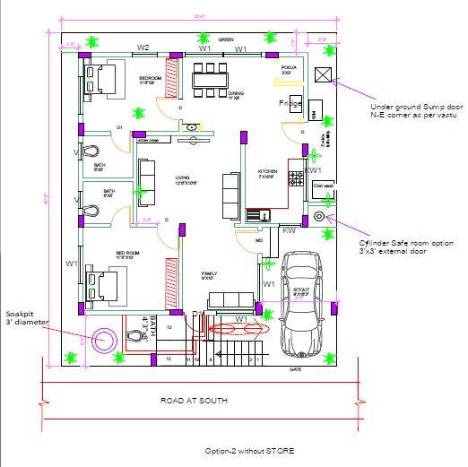 40x40 vastu house plan 2 BHK house plan designed to Mr Pani, Hyderabad