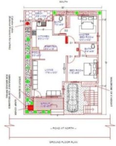 North face 30x40 Plot House plan as per vastu