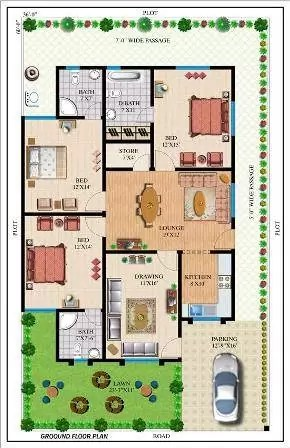 3BHK 3D FLOOR PLANS MODERN HOUSE PLANS IN