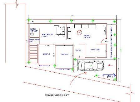 trapezoidal shape plot house plan 45x30x22